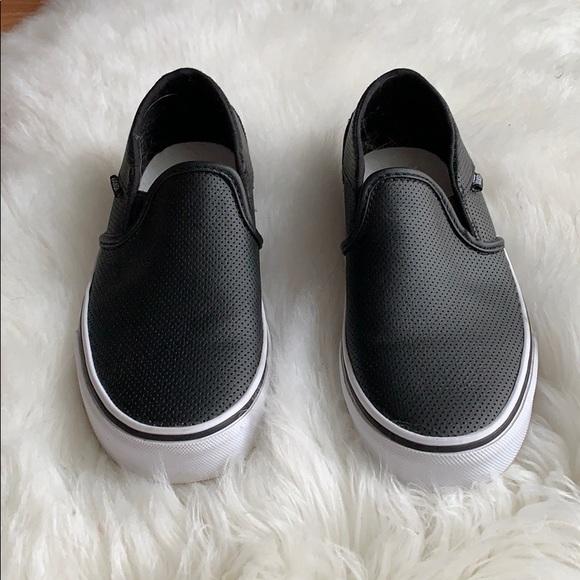 vans asher slip on womens black